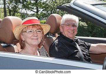 auto, paar, glücklich, umwandelbar, älter