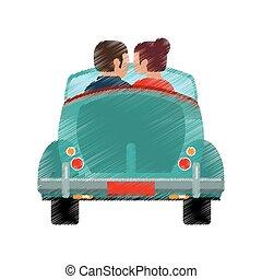 auto, paar, klassisch, reise, zeichnung
