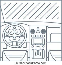 auto, paneel, illustratie, -, aanzicht, venster, pedalen, eenvoudig, lijn, interieur, whell, plat
