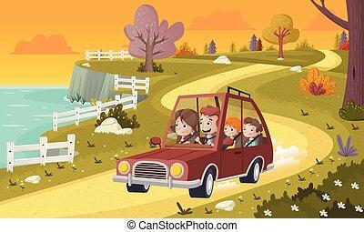 auto, park., familie, fahren, karikatur
