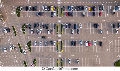 auto, parkeerplaats, bekeken, van boven, luchtmening