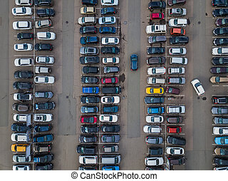auto, parkeren, -, luchtmening