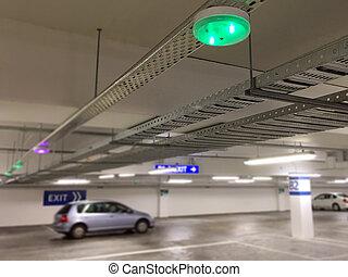auto, parkplatz, sensors, auf, decke