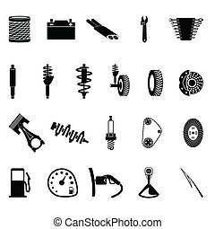 auto parts icon set on gray background