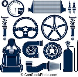 Auto parts. Single color vector icons set.