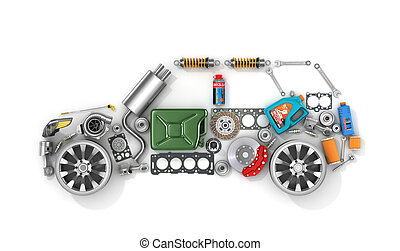 Auto parts in form of car . To use in the advertising of ...