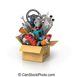 Auto parts in the card box. Automotive basket shop. Auto parts store.