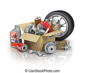Auto parts in the cardbox. Automotive basket shop. Auto...