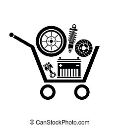 car parts store - Auto parts in the supermarket trolley. ...