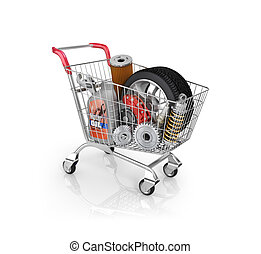 Auto parts in the trolley. Auto parts store. Automotive...