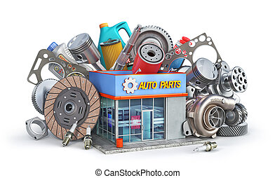 Auto parts near auto parts store isolated on a white background. 3d illustration