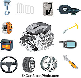 Auto parts set in vector on a white