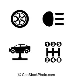 Auto parts. Simple Related Vector Icons