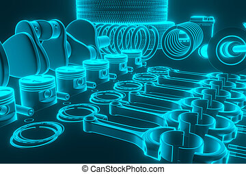 Auto parts, spare parts car on the grey background. Set with many new items for shop or aftermarket. Auto parts for car. 3D rendering