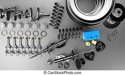 Auto parts spare parts car on the grey background. Set with many new items for shop or aftermarket. Auto parts for car.
