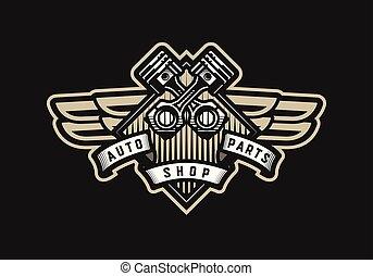 Auto parts store, car logo emblem on a dark background.