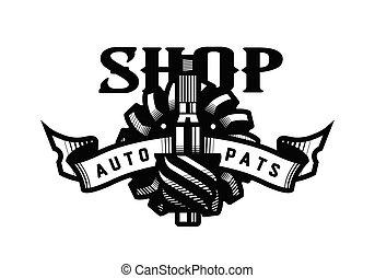 Auto parts store, car logo emblem