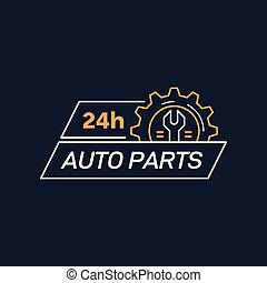 Auto parts store company logo template. Flat style badge design. Color line art icon on dark background