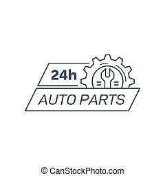 Auto parts store company logo template. Flat style badge design. Black and white line art icon isolated on white background