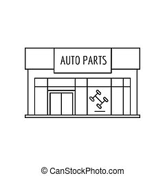 Auto parts Store front icon. Outline Auto parts Store front vector icon for web design isolated on white background