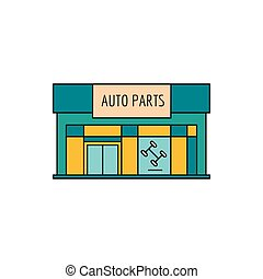 Auto parts store icon. Cartoon Auto parts store vector icon for web design isolated on white background