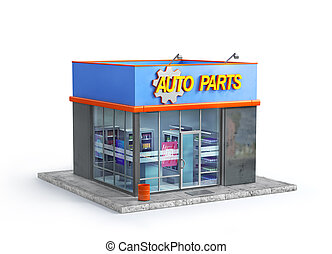 Auto parts store isolated on a white background. 3d illustration
