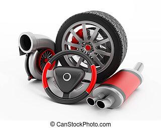 Auto performance parts - Turbo, tire, brake caliper, stering...