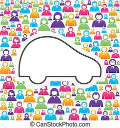 auto, pictogram, groep, mensen
