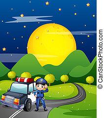 auto, politie, straat, politieagent