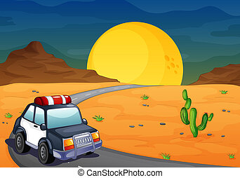 auto, politie, woestijn