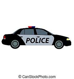 auto, politie, zijaanzicht