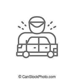 auto, politieagent, het snelen, gestopt, lijn, was, icon.