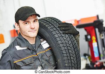 auto, réparateur, pneu, mécanicien