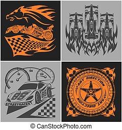 Auto racing emblems - Sport car logo illustration on dark and light background.