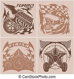 Auto racing emblems - Sport car logo illustration on light background.