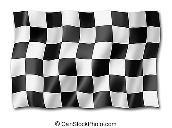 Auto racing finish checkered flag isolated on white