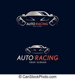 Auto racing symbol on dark blue background. Silver sport car logo design for dealer, shop, service station, showroom or corporate identity.