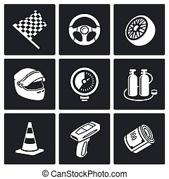 Auto Racing Vector Icons Set - Racing Icon collection...