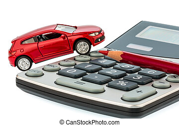 auto, red pencil and calculator - a car and a red pen on a...