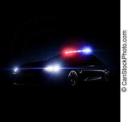 auto, reihe, voll, polizei, lightsq