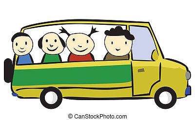 auto reis, gezin, spotprent