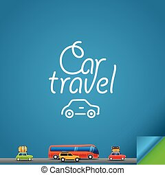 auto, reise, design, concept., schablone