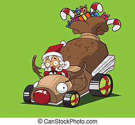 auto, rendier, claus, besturen, kerstman