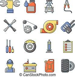 Auto repair icons set, cartoon style