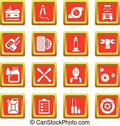 Auto repair icons set red square vector