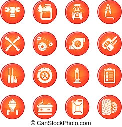 Auto repair icons set red vector