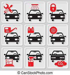 set vector icons of auto repair and service