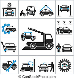 Auto repair icons. Vector set for you design