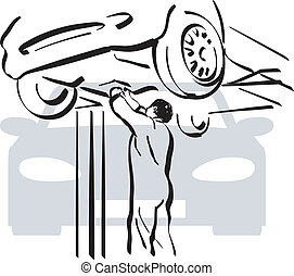 Auto repair - illustration of a repairer to work