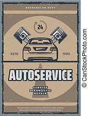 Auto repair service retro poster with old car
